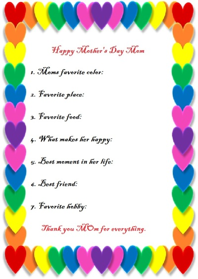 Moms gift - Mothers Day free printable
